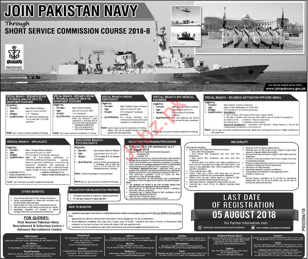 Join Pakistan Navy through Short Service Commission Course