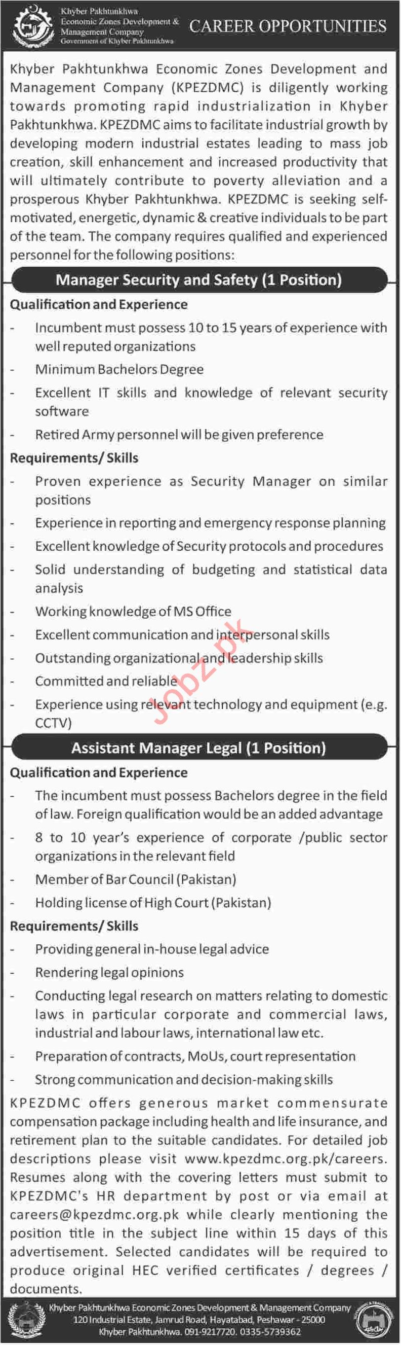 KP Economic Zones Development & Management Company Jobs 2018