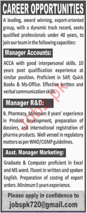 Manager Accounts, Manager R&D & Asst Manager Marketing Jobs