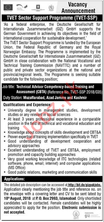 GIZ Pakistan Technical Advisor Competency Jobs 2018