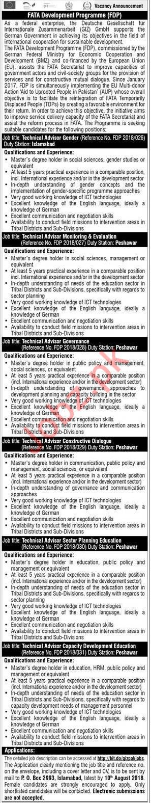 Giz Pakistan Technical Advisors NGO Jobs 2018