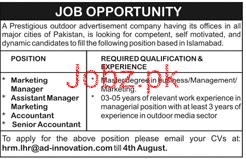 Marketing Manager, Assistant Manager Job Opportunity