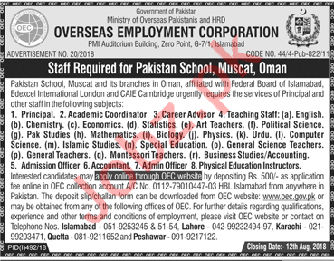 Staff Required for Pakistan School