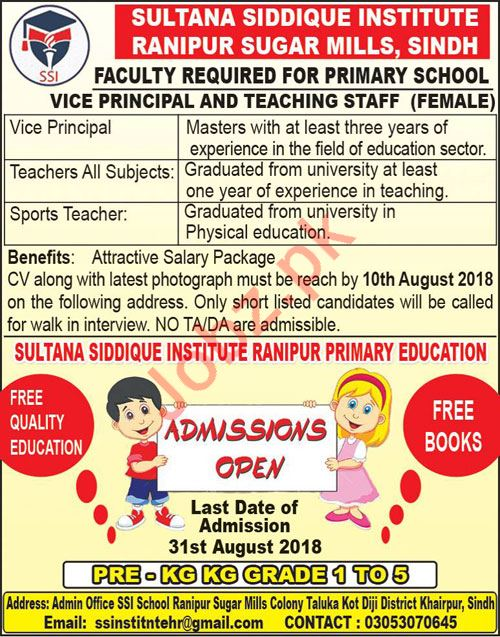 Sultana Siddique Institute SSI Faculty Jobs 2018