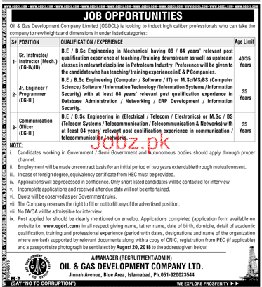 Oil and Gas Development Company Limited OGDCL Job 2018