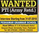 Peshawar Grammar School PTI Army Retd Jobs
