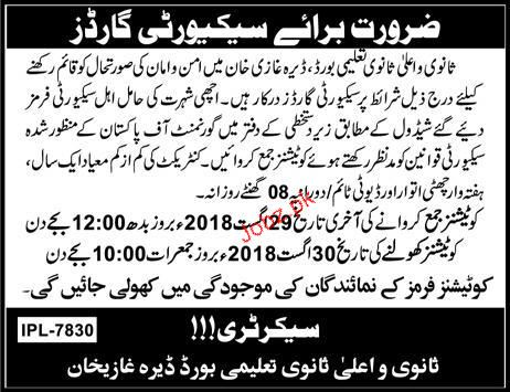 Board of Intermediate and Secondary Education D G Khan Jobs
