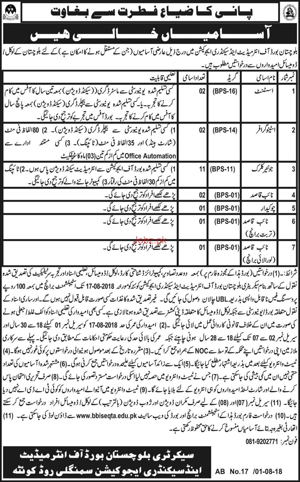 Balochistan Board of Intermediate & Secondary Education Job