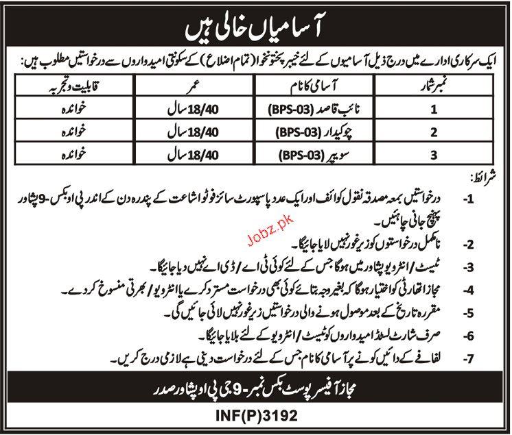 Naib Qasid, Chawkidars and Sweepers Job Opportunity