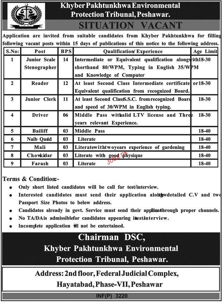 Khyber Pakhtunkhawa Environmental Protection Tribunal Jobs
