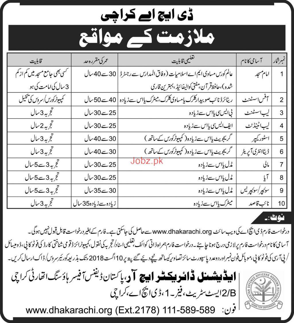 Defence Housing Authority DHA Karachi Jobs