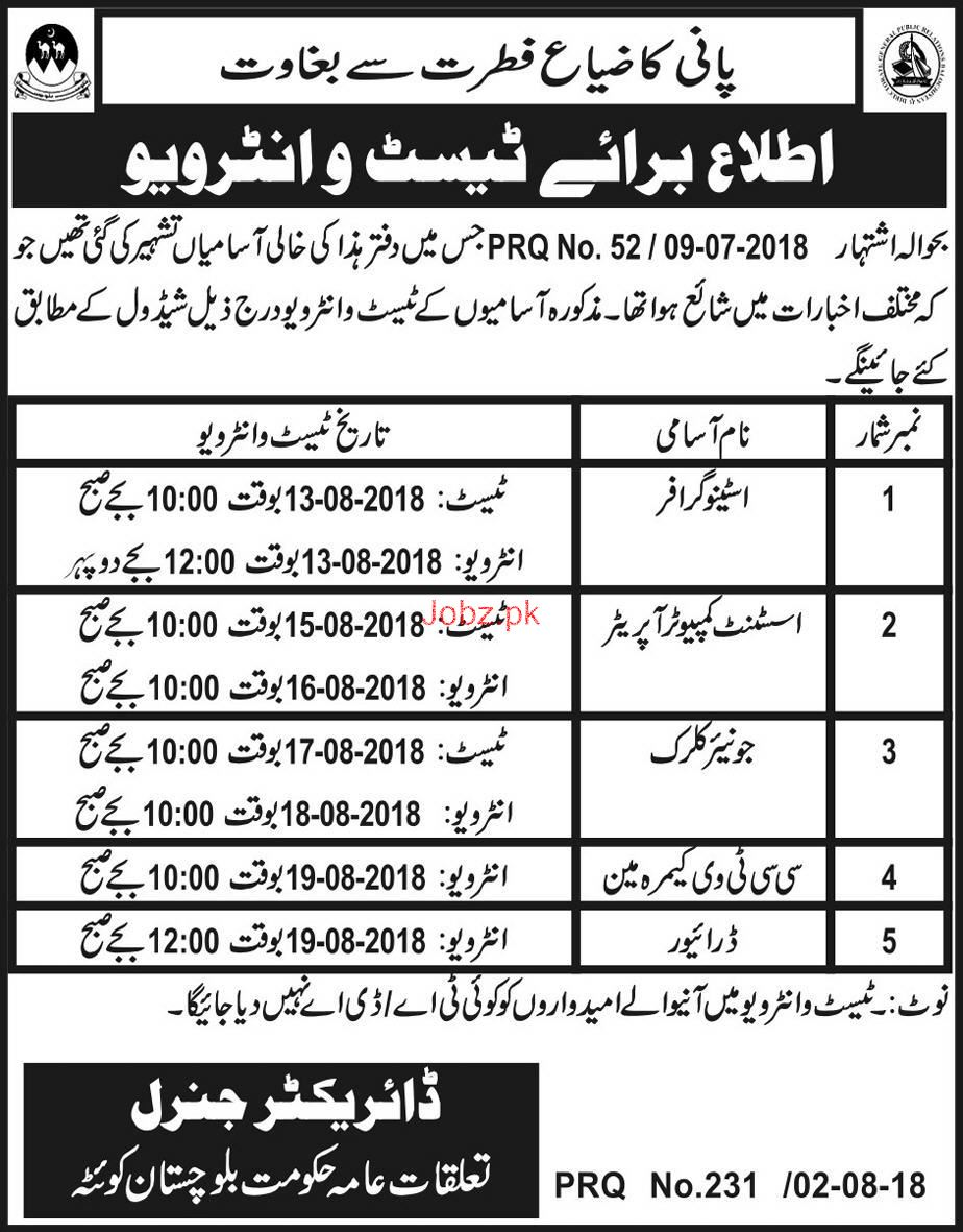 Public Relations Department Government of Balochistan Jobs