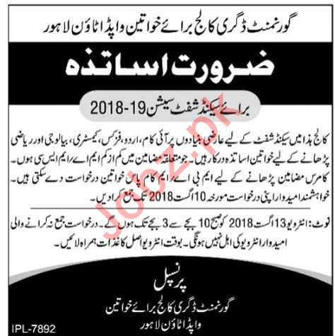 GDCW Government Degree College for Women Lahore Jobs 2018