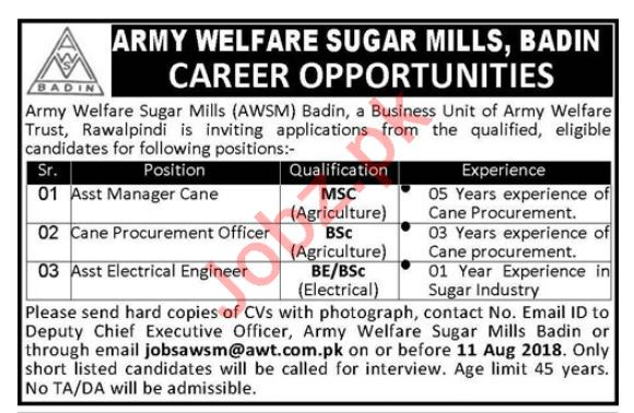 Army Welfare Sugar Mills AWT Badin Jobs 2018 for Managers