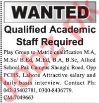Allied School Pak Campus Lahore Jobs 2018 for Teachers