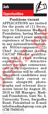 Madina Group of Industries Faisalabad Secretary Jobs 2018