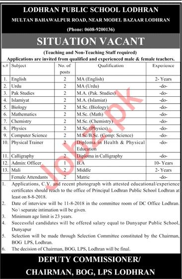 Lodhran Public School Lodhran Teachers Jobs 2018