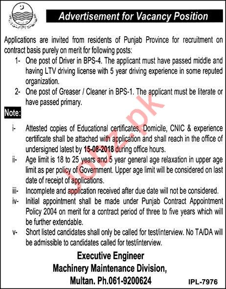 Machinery Maintenance Division Multan Jobs 2018