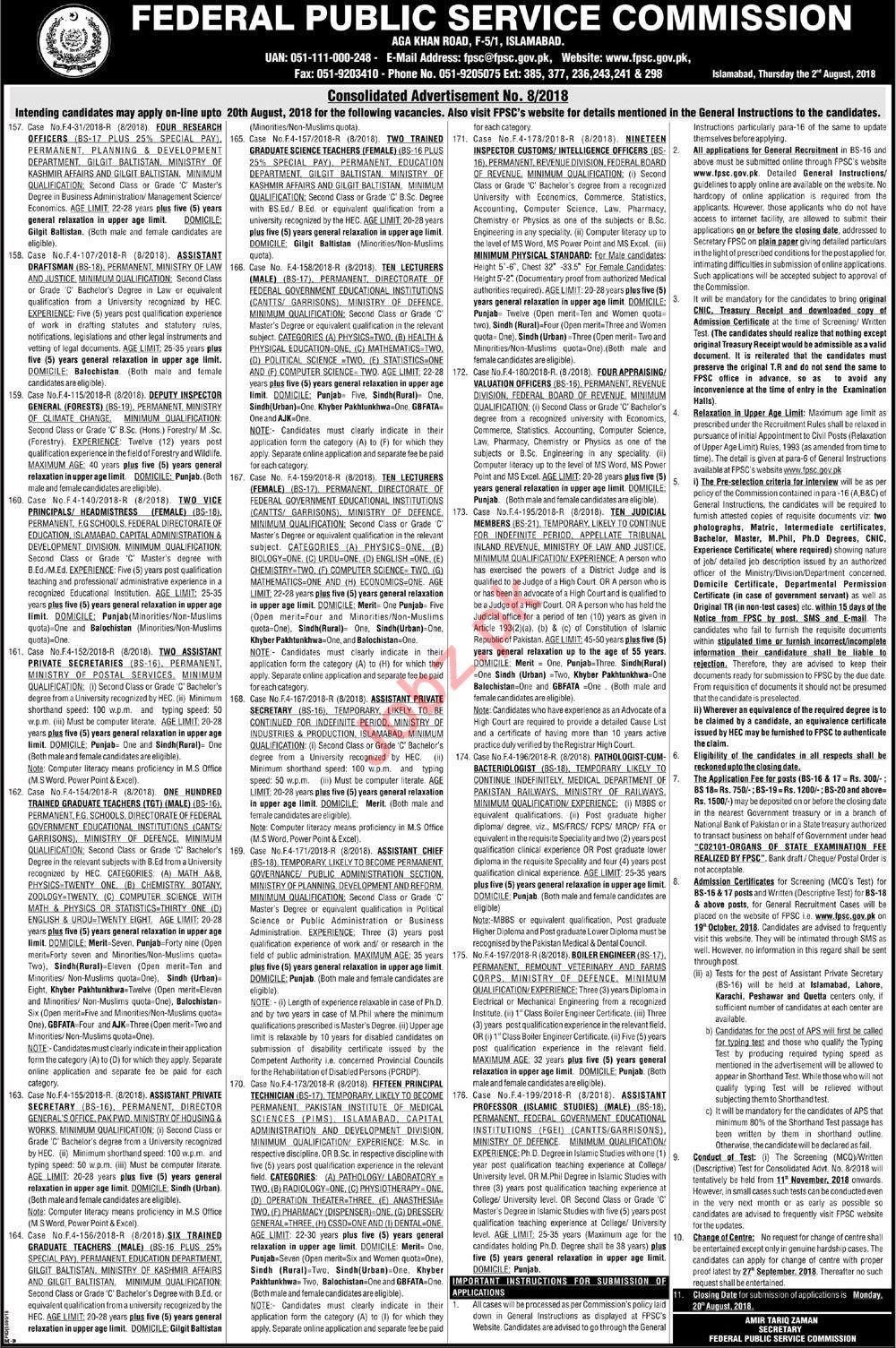 FPSC Federal Govt Educational Institutions Jobs 2018