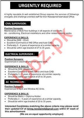 Civil Supervisor, Electrical Supervisor & AC Technician Jobs