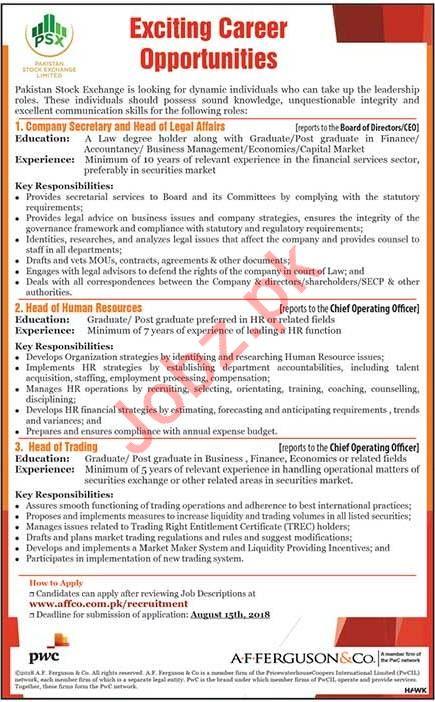 Pakistan Stock Exchange PSX Lahore Company Secretary Jobs