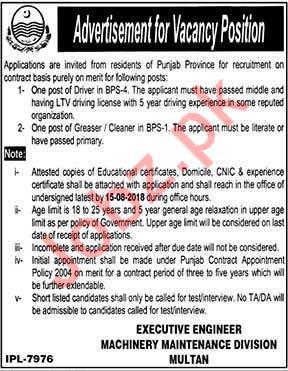 Machinery Maintenance Division Multan Driver Jobs 2018