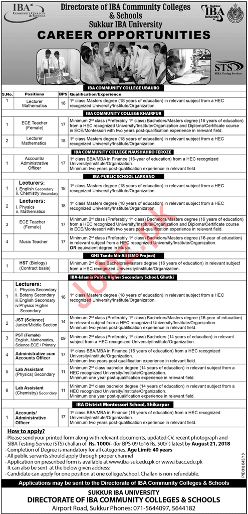 IBA Community Colleges & Schools Sindh Lecturers Jobs 2018