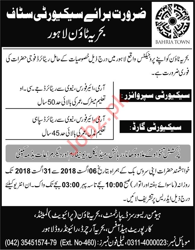 Bahria Town Lahore Jobs 2018 for Security Guards