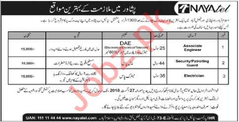 Nayatel Peshawar Jobs 2018 for Engineer & Electrician