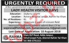 Lady Health Visitor LHV NGO Job 2018 in Rahim Yar Khan