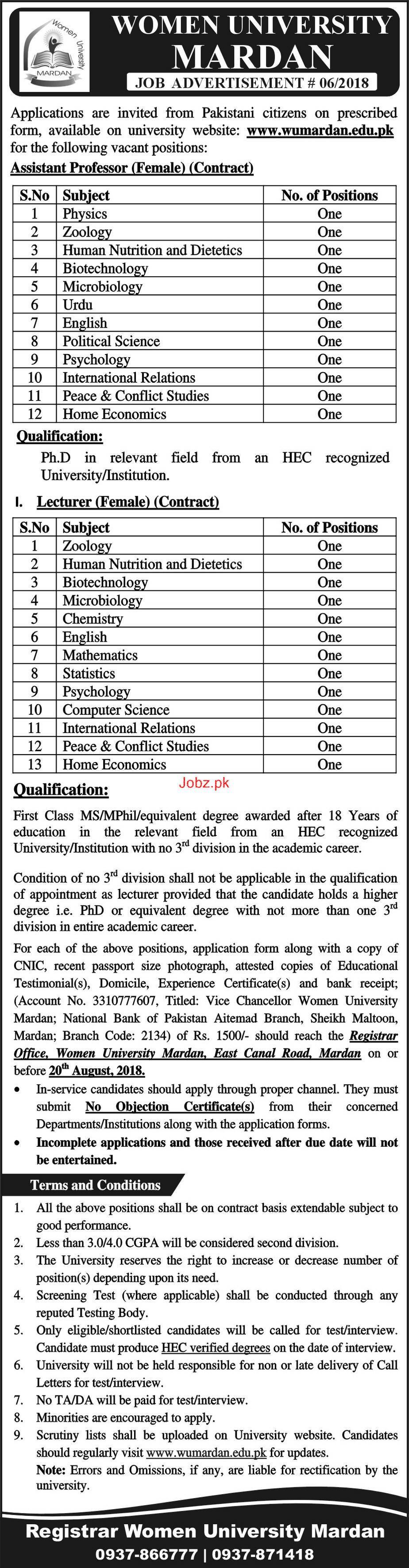 Women University Mardan Female Assistant  Professors Jobs