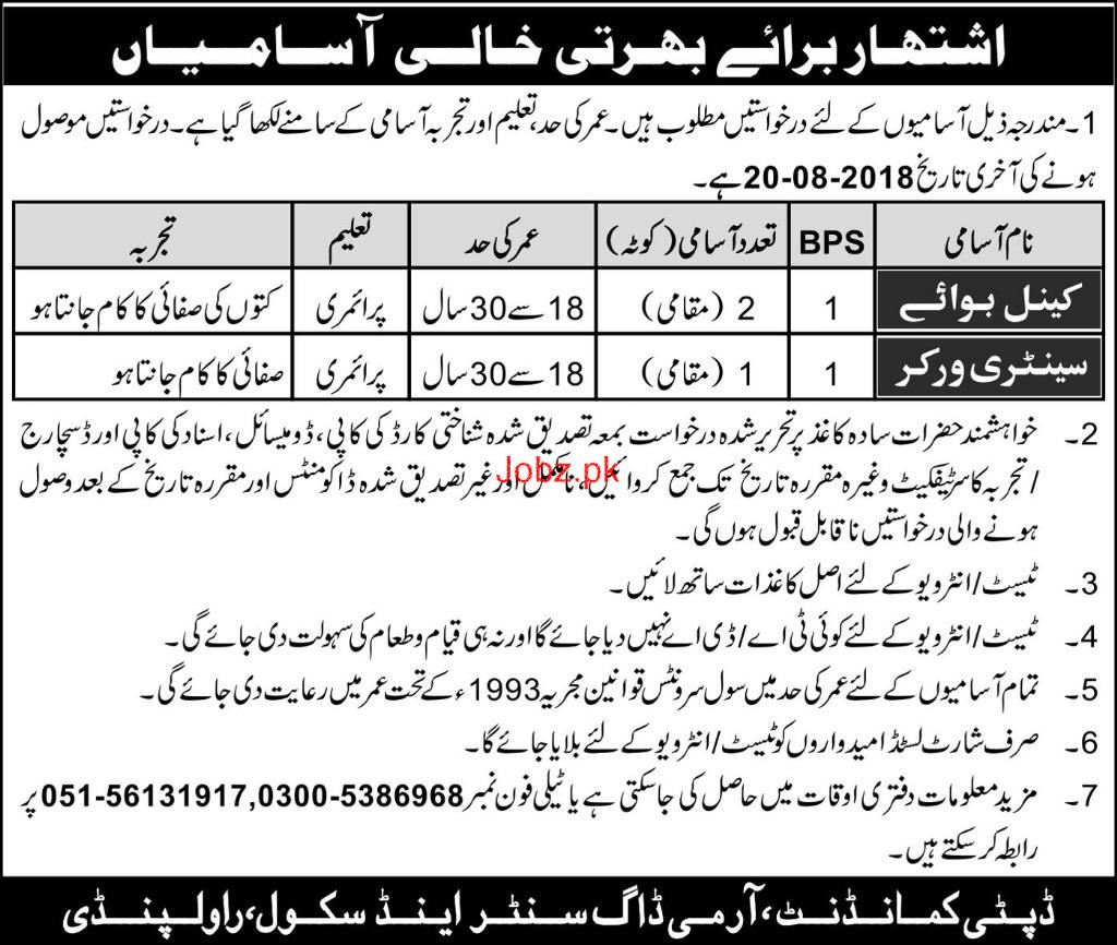 Cattle Boys and Sanitary Workers Job in Army Dog Center