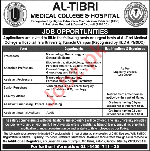 Al Tibri Medical College & Hospital Karachi Jobs 2018