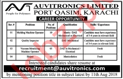 Auvitronics Limited Karachi Jobs 2018 for Quality Inspector