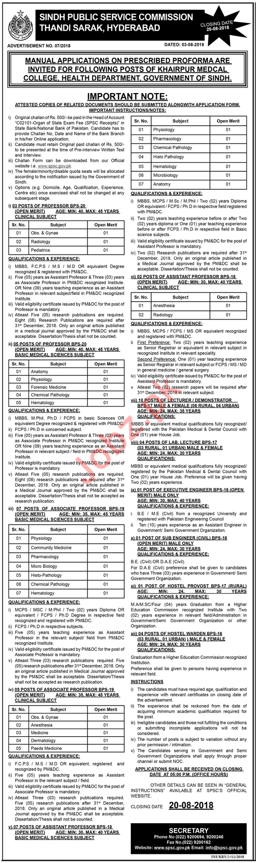 Sindh Public Service Commission SPSC Jobs August 2018