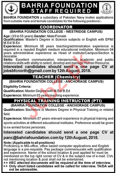 Bahria Foundation College Rawalpindi Teachers Jobs 2018