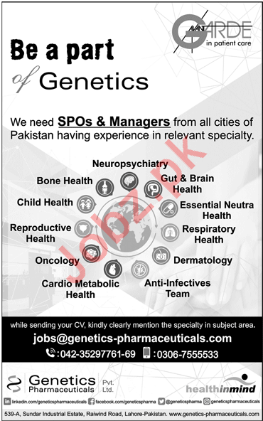 Genetics Pharmaceuticals Lahore Jobs 2018 for Managers