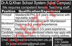 Dr A Q Khan School System Rawalpindi Jobs 2018 for Teachers