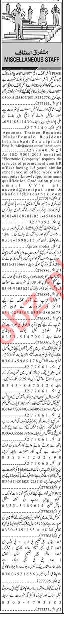 Daily Jang Rawalpindi Newspaper Classified Ads 2018