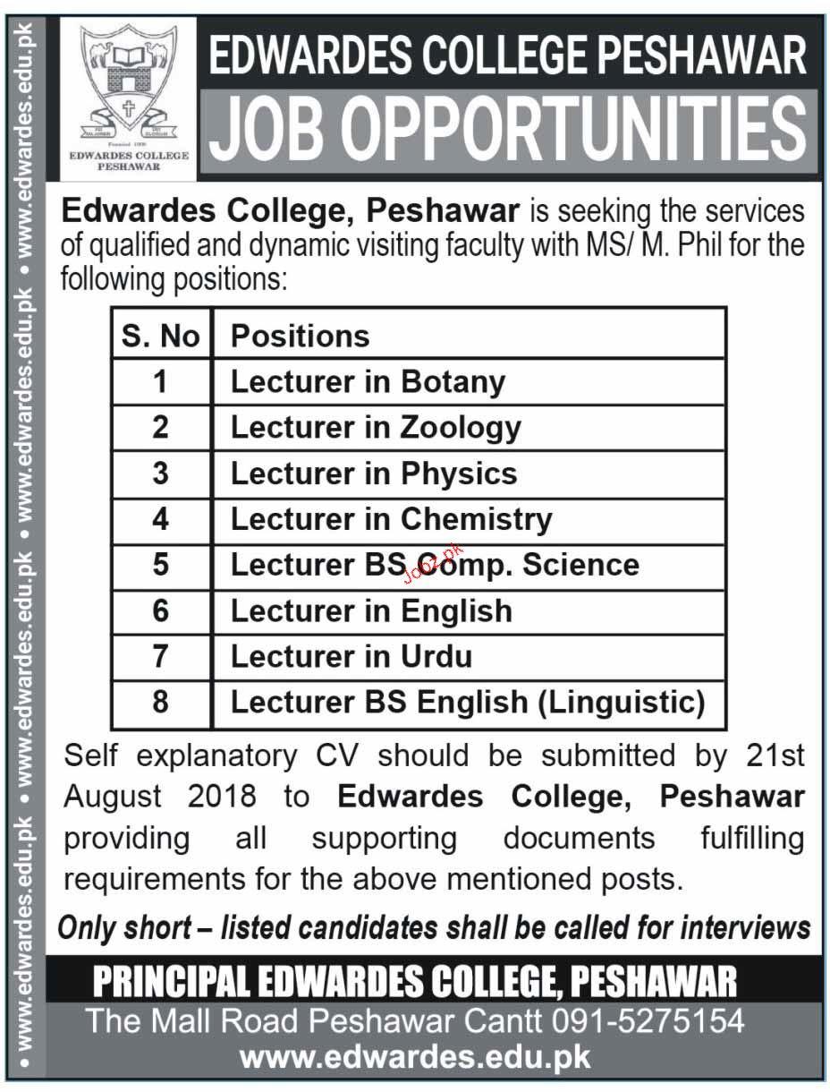 Edwardes College Peshawar Lecturers Jobs