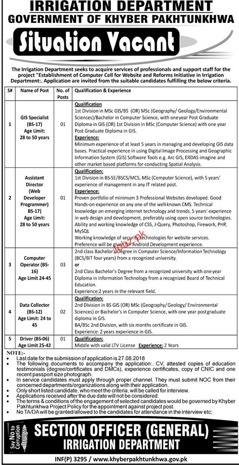 Irrigation Department Government of KPK Jobs 2018 2019 Job