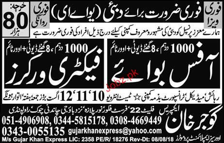 Office Boys and Factory Workers Job Opportunity