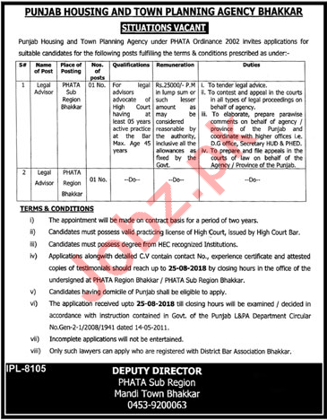 Punjab Housing & Town Planning Agency Advisors Jobs 2018