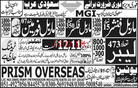 Marble Finishers, Marble Fixers, Labors Job Opportunity