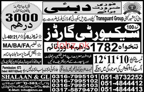 Security Guards Job in Famous Transguard Group