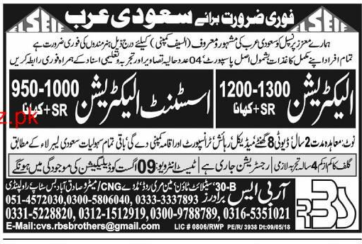Electricians and Assistant Electricians Job Opportunity