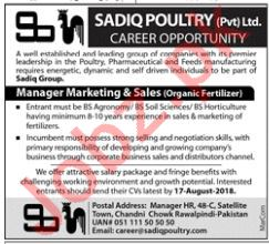 Sadiq Poultry Rawalpindi Jobs 2018 for Manager Marketing