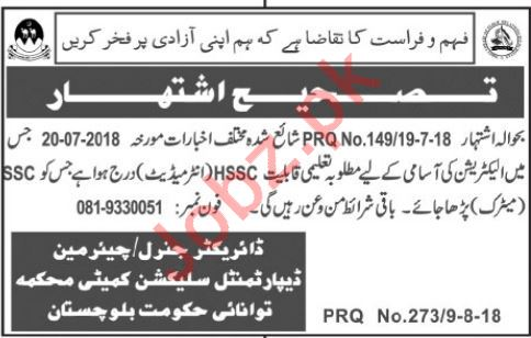 Energy Department Balochistan Jobs 2018 for Electrician