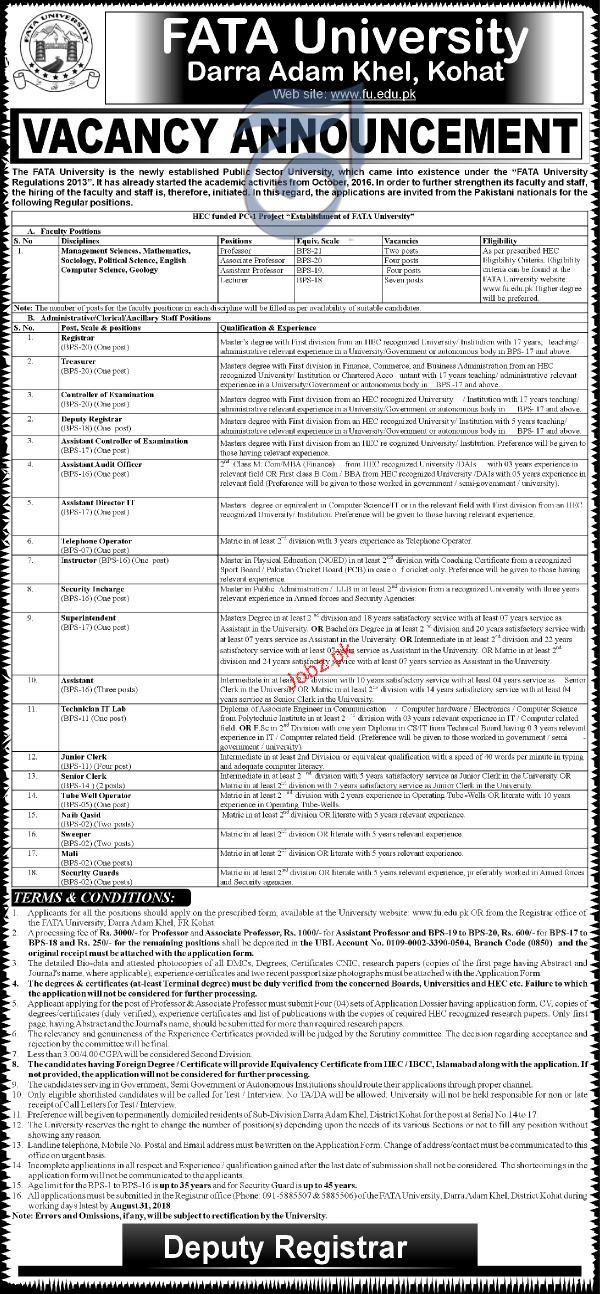 FATA University Derra Adam Khel Kohat Jobs