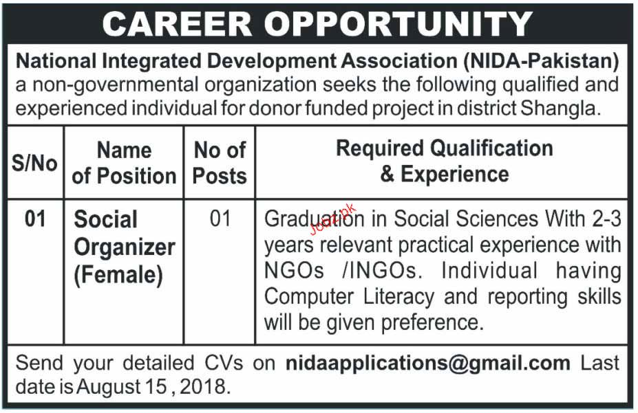 National Integrated Development Association NIDA Jobs